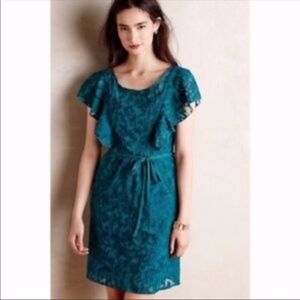 ANTHROPOLOGIE DRESS EMBOSSED LEAVES RUFFLES EUC 12